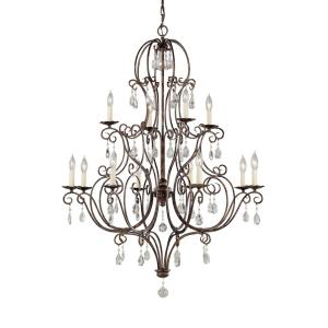 12 Light Two- tier Chandelier w/crystals